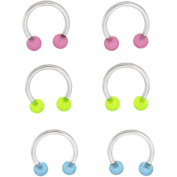 Body Magic 316L Steel and Surgical Grade Material 3-Piece Glow-in-the-Dark Circular Barbell Set