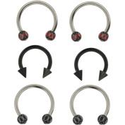 Hot Silver 16g Red/Black Surgical Steel Basics Horseshoe Set