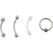 Hotsilver 16G Pink Crystal Eyebrow Value Pack