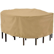 Classic Accessories Terrazzo Patio Table and Chair Set Cover, Round, Medium, Sand, 58212-EC