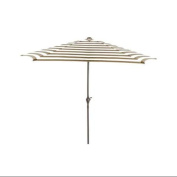 2.7m Outdoor Patio Market Umbrella with Hand Crank and Tilt - Taupe and White Stripe