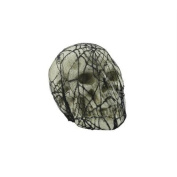 20cm Spooky Black Spider Web Lace Covered Skull Halloween Table Top Decoration