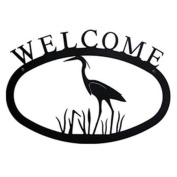 Village Wrought Iron WEL-133-S Small Welcome Sign-Plaque - Blue Heron