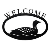 Village Wrought Iron WEL-116-S Small Welcome Sign-Plaque - Loon - Duck