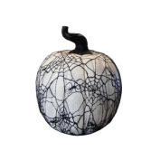 38cm Spooky Black Spider Web Lace Covered Halloween Pumpkin Table Top Decoration