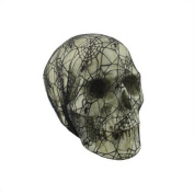 39cm Spooky Black Spider Web Lace Covered Skull Halloween Decoration