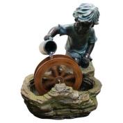 Alpine Polyresin Boy with Wheel Outdoor Fountain