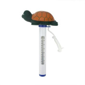 21cm Green and Orange Floating Turtle Shaped Swimming Pool Thermometer with Cord
