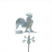 0.9m Polished Weathered Copper Patina Rooster Outdoor Weathervane