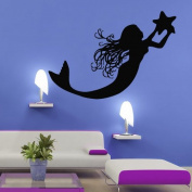 Wall Decal Vinyl Sticker Decals Art Decor Mermaid Deep Sea Animal Water Nymph Nature Fish Nursery Kids Children Bedroom Star Tail Cartoon Girl