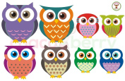 Owl Family Wall Decals, High Quality Fabric Kids Baby Nursery Room Wall Stickers - Sticks to Any Surface, Peels Off Clean, Reusable, Easy to Instal