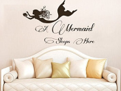 Wall Decals Quotes Vinyl Sticker Decal Quote A Mermaid Sleeps Here Phrase Bedroom Kids Nursery Baby Room Home Decor C284