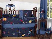 Space Galaxy Rocket Ship, Planet, Galactic 9 Piece Baby Boy Bedding Crib Set