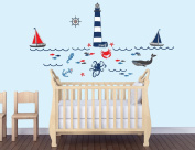 Nautical Wall Decal in Red, Navy and Grey for Nursery