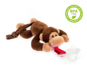 BabyHuggle Soft Plush Monkey Toy with Detachable Silicone Baby Pacifier and Clip Holder - 100% Non Toxic & Safe Premium Materials - Soothing for a Good Night Sleep