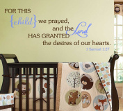 For This Child We Prayed Wall Decal Bible Scripture Christian [Brown & Baby Blue] Nursery Décor Baby Newborn Child Bedroom