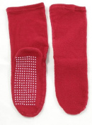 Women Adult Soft Knit Gripper, Non Skid Slippers Socks. One Size Fits All. Red