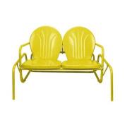100cm Sunshine Yellow Retro Metal Tulip Outdoor Double Glider