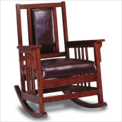 Coaster Mission Style Wood Rocker with Leather Match Seat and Back