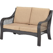 Home Styles Lanai Breeze Love Seat, Deep Brown and Gold Fabric