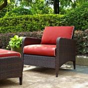 Crosley Kiawah Outdoor Wicker Arm Chair with Sangria Cushions