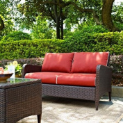 Crosley Kiawah Outdoor Wicker Loveseat with Sangria Cushions