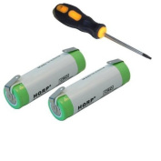 HQRP 2-Pack Batteries for Braun BS5771, Type 5497, 8975, 8985, 8986, 8987 Razor / Shaver plus Screwdriver and Coaster