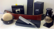 Shaving Set - Gold Dollar Straight Razor Chequered Handle, Gbs Bowl, 100% Pure Badger Brush, Brush Stand, Ocean Driftwood Shaving Soap, Leather Case, 50cm Strop and Strop Paste!