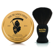 """~Shaving Soap and Shave Brush Combo Kit~ """"Smoulder"""" Gold Luxury Shaving Soap and Satin Tip The Purest Black Synthetic Hair Luxury Shave Brush - By The Blades Grim"""