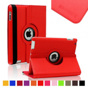 SAVEICON Red PU Leather Case Smart Cover 360 Rotating Stand For The Apple iPad 2 / 3 / 4 Generation with Retina Display, iPad 3 and iPad 2 with Sleep and Wake Function