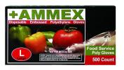 Ammex PGLOVE-500 Food Service Poly Glove, Latex Free, Disposable, Powder Free, Medium