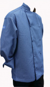 XXL 2X Chefskin Jacket Light Denim Adult Long Sleeve Pocket Cool Beanie