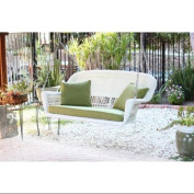 130cm Hand Woven White Resin Wicker Outdoor Porch Swing with Green Cushion