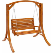 CorLiving Wood Canyon Cinnamon Brown Stained Patio Swing