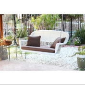 130cm Hand Woven White Resin Wicker Outdoor Porch Swing with Brown Cushion