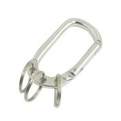 Spring Loaded Gate Carabiner Hook Three Split Ring Keychain