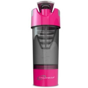Cyclone Cup 590ml Blender Mixer Bottle Protein Shaker with Compartment - Pink