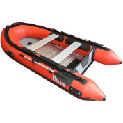ALEKO Inflatable Boat 2.4m with Aluminium Floor 3-Person Raft Fishing Boat, Red