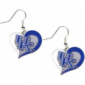 NCAA Kentucky Swirl Heart Shape Dangle Logo Earring Set