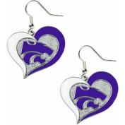 NCAA Kansas State Swirl Heart Shape Dangle Logo Earring Set