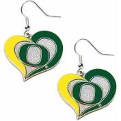 NCAA Oregon Swirl Heart Shape Dangle Logo Earring Set