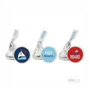 Andaz Press Nautical Baby on Board Boy Baby Shower Collection, Party Chocolate Drop Label Stickers Trio, Fits Hershey's Kisses, 216-Pack, For Ocean, Sailboat, Mermaid, Whale, Sea, Anchor, Fish, Octopus, Sailing, Fisherman, Themed Party Favours, Gifts,  ..