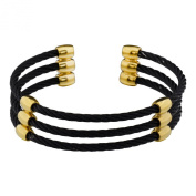 17mm Three Row Black Cable Gold-Plated-Brass Bangle Bracelet 7 Inches SPJ