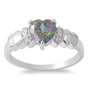 Heart Mystic Simulated Topaz Cubic Zirconia Ring Sterling Silver 925