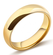 King Will Unisex 4mm Classic Gold Plated High Polished Comfort Fit Domed Tungsten Ring Wedding Band