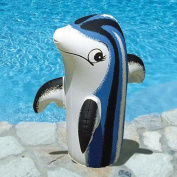 46cm Blue, Black and White Inflatable Adorable Baby Dolphin Swimming Pool and Spa Accessory