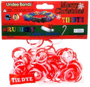 Undee Bandz Rubbzy 100 CHRISTMAS RED & WHITE Tie-Dye Rubber Bands with Clips