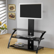 . Black Wire Management TV Console for TVs up to 110cm