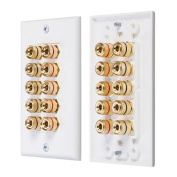 Fosmon Coupler Type Gold Plated Copper Banana Binding Post Wall Plate for 5 Speakers - White