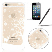 iPhone 6 Plus Case,iPhone 6S Plus Cover - Felfy iPhone 6S/6 Plus 14cm Cute Animal Deer Snowflake Christmas Design Ultra Thin Soft TPU Gel Silicone Transparent Clear Crystal Back Premium Slim Fit Case Cover +1x Screen Protector +1x Black Stylus